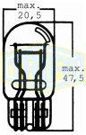 12V 21/5W foglalata nélküli Trifa 10001791                 W3x16q üvegfejű  Trifa izzó