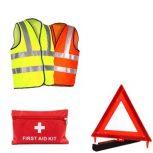 Biztonsági mellény, háromszög, elsősegély doboz